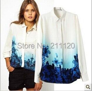 1b1f3f92769b49 014 Girls Sweet Blue Floral Pattern Turn down Collar Chiffon summer Blouse  Ladies Casual Shirts fashion women Tops
