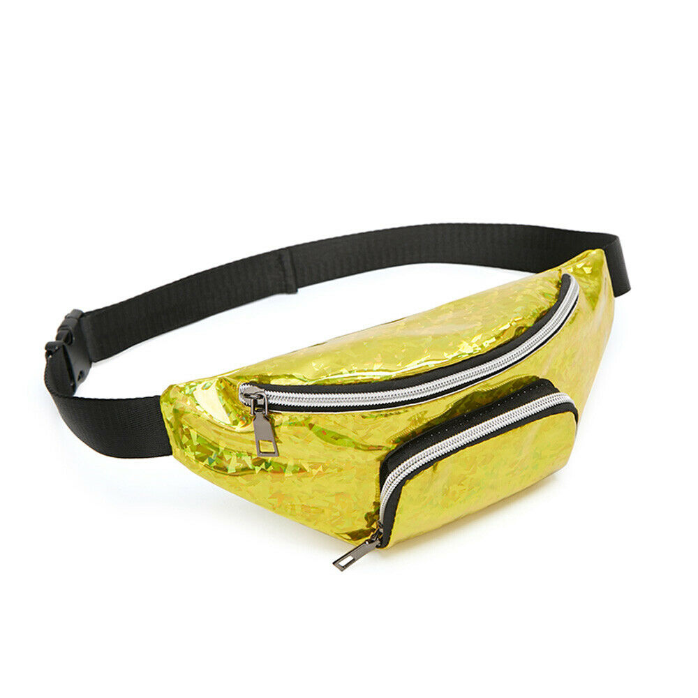 Cool Women's Waist Bag Holographic Laser Hip Hop Fanny Pack Fashion PU Leather Travel Chest Bag