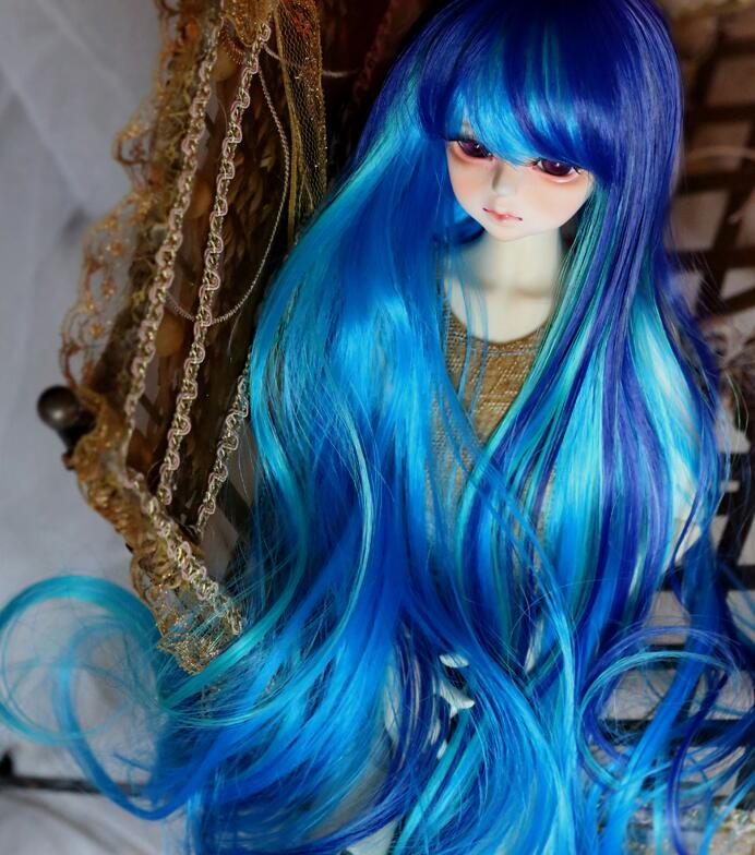 New 1/3 22-24cm / 1/4 18-18.5CM LUTS SD PULLIP BJD Wig Color mixing Dreamlike Wave Curl Long Wig new 1 3 22 23cm 1 4 18 18 5cm bjd sd dod luts dollfie doll orange black short handsome wig