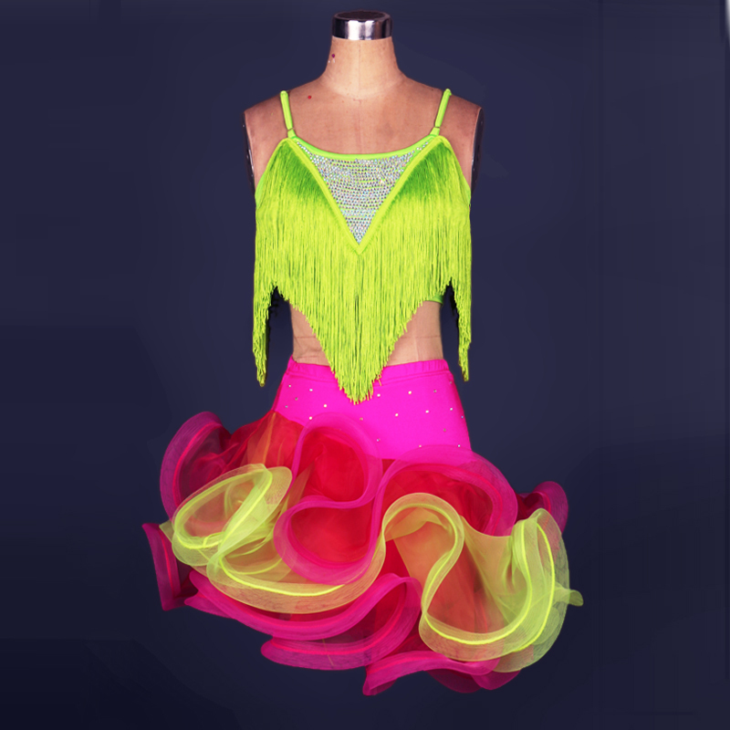 Latin Dance Dress Women/Girls For Sale Rose/Yellow/Blue/Green Fitness Clothes Stage Costumes Tassel Cha Cha Dance Dress DQ13036