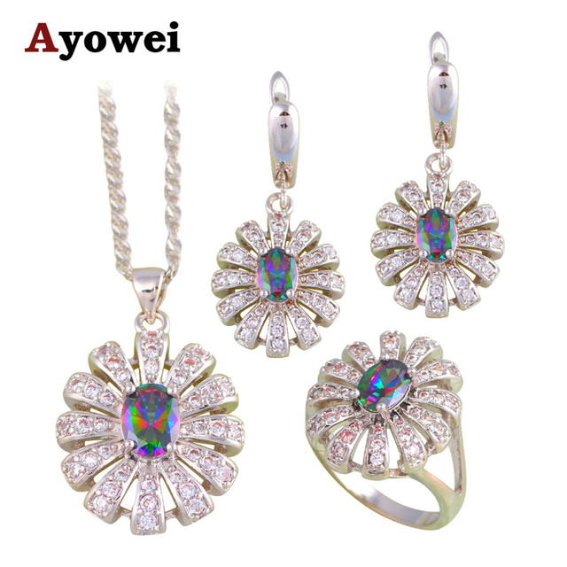 01de019603 High Quality Rainbow Mystic Crystal Silver Stamped Fashion Jewelry Sets  Earrings Pendant Necklace Rings for Women JS677A