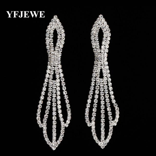 Yfjewe новые серьги длинные женские кулон, серьги длинные серьги-подвески с камнями Кристалл jewelry подарки pendientes mujer E396