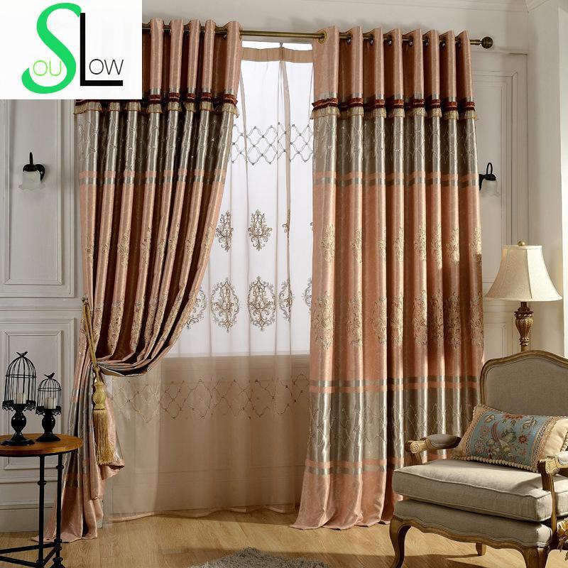 Embroidered curtain curtains shade cloth floral blackout - Modelos cortinas salon ...