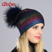 Geebro Women's Cashmere Beanies Hat with Raccoon Fur Pompon Winter Warm Knitted