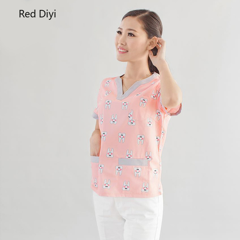 Medical shirts Dental hospital doctors Nurse uniforms Short sleeves Surgical gowns Digital print tops