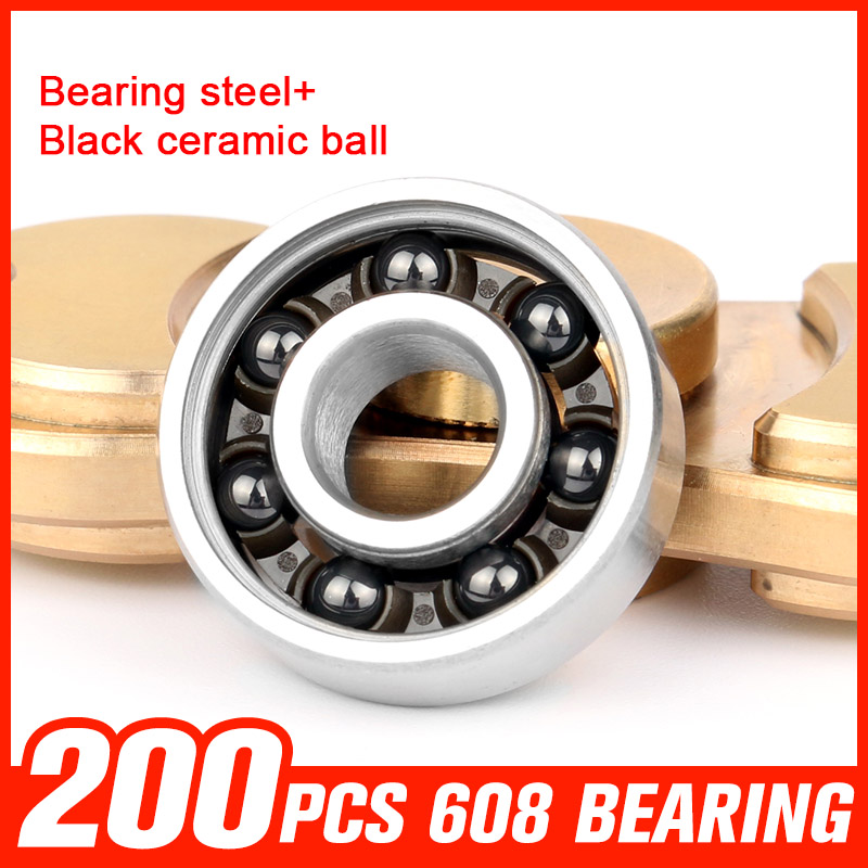 200pcs Bearing Steel Shaft 608 Ceramic Ball Bearings for DIY Assemble Fingertip Gyro Plastic Hand Toy Rotating Hardware Tool f1055zz diy steel ball bearings for model toy robot silver 2 pcs
