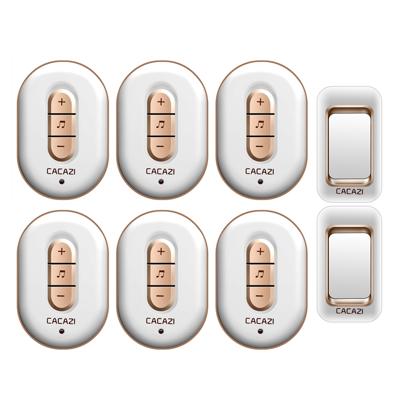 CACAZI AC 110-220V waterproof smart 300M remote wireless doorbell 2 transmitters+6 receivers 48 melodies 6 volume door chime cacazi a9 3 ac 75 250v wireless doorbell 1 waterproof button 3 receivers 52 ringtones 4 volume 300m remote electronic doorbell