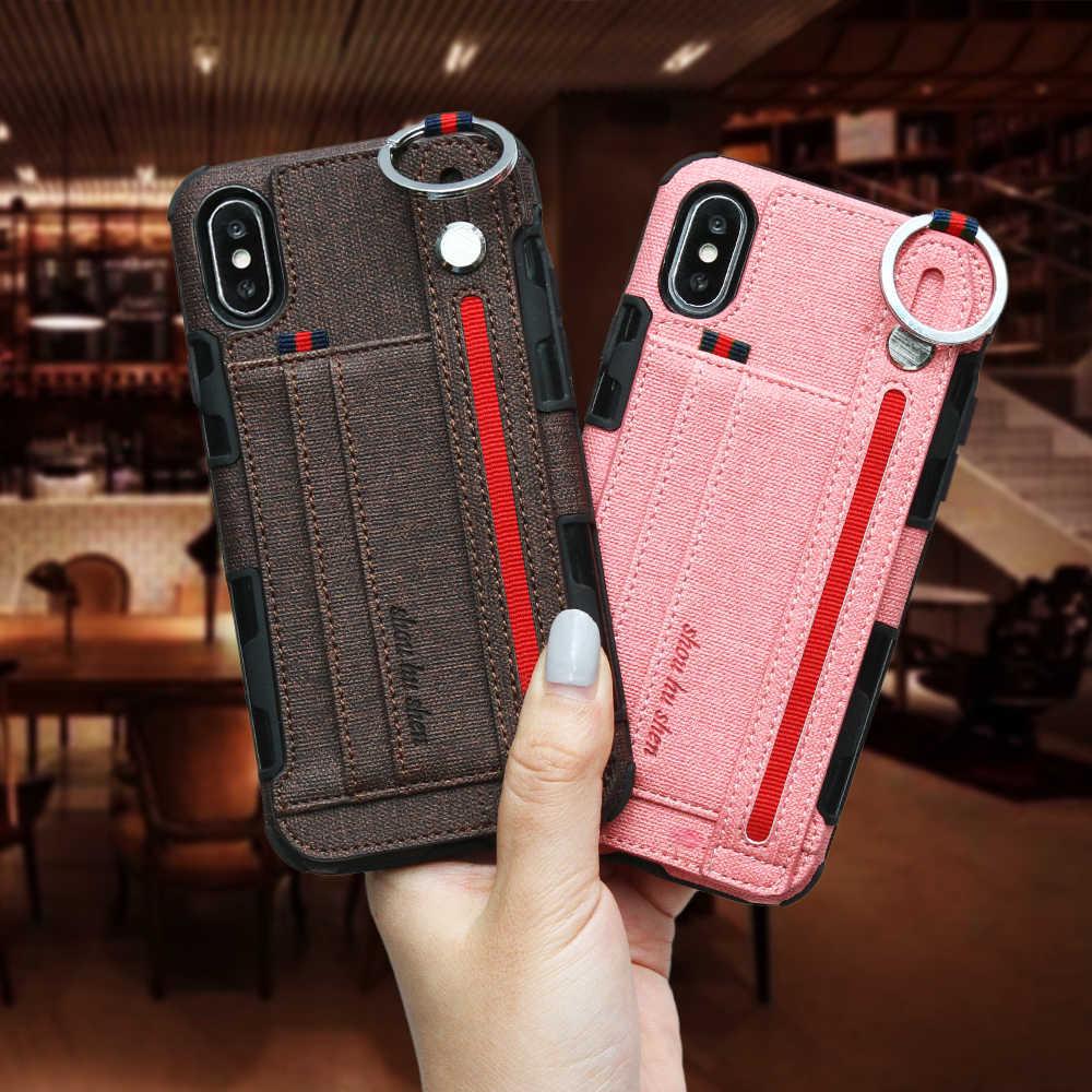 Роскошный чехол для iPhone X XS MAX 7 8 6 6s XR держатель кредитных карт с подвесным кольцом