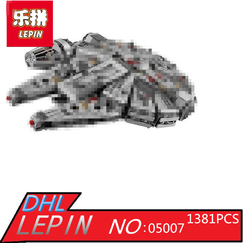 LEPIN 05007 Stars Series War 1381pcs Force Awakens Millennium Toys Falcon DIY Set Model Building Kits Blocks Bricks Children Toy lepin 05077 stars series war the ucs rupblic set star destroyer model cruiser st04 diy building kits blocks bricks children toys