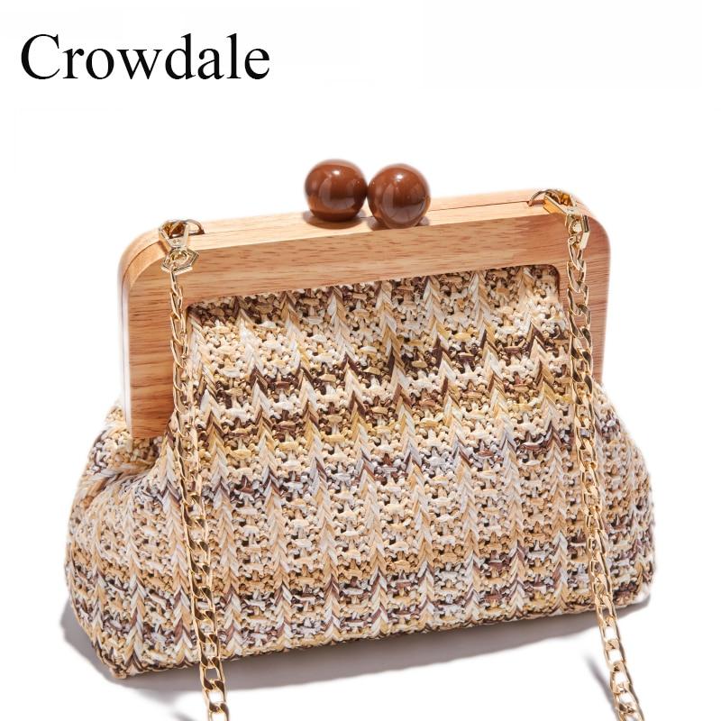 CROWDALE Log fashion handbag Braided new summer shoulder bag luxury handbags women bags designer handbag women