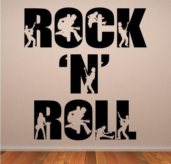 Free Shipping Home Decor Music Rock N Roll Wall Art Decals Removable Stickers 51cm W X 55cm H For Livingroom In From Garden On