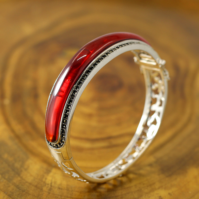 Genuine Solid Thai Bracelet Bangles For Women With Natural Red Garnet Openable Classic Fine Jewelry Manchette