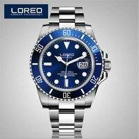 LOREO Automatic Mechanical Movements Watch Men Stainless Steel 200m Waterproof Diver Relogio Feminine Luminous Watch AB2035