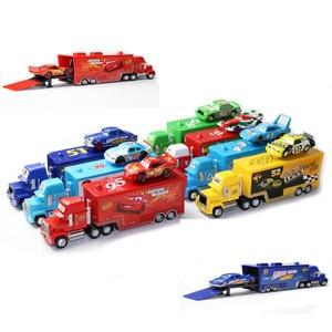 Image 2 - Disney Pixar Autos 21 Stile Mack Lkw + Kleine Auto McQueen 1:55 Diecast Metall Legierung Und Kunststoff Modle Auto Spielzeug geschenke Für Kinder