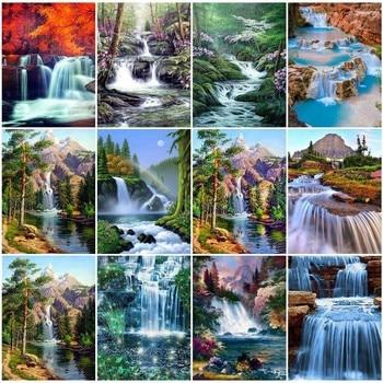 5D DIY Diamond Painting Waterfall Scenic Full Square Rhinestone Diamond Embroidery Landscape Cross Stitch Mosaic Home Decoration