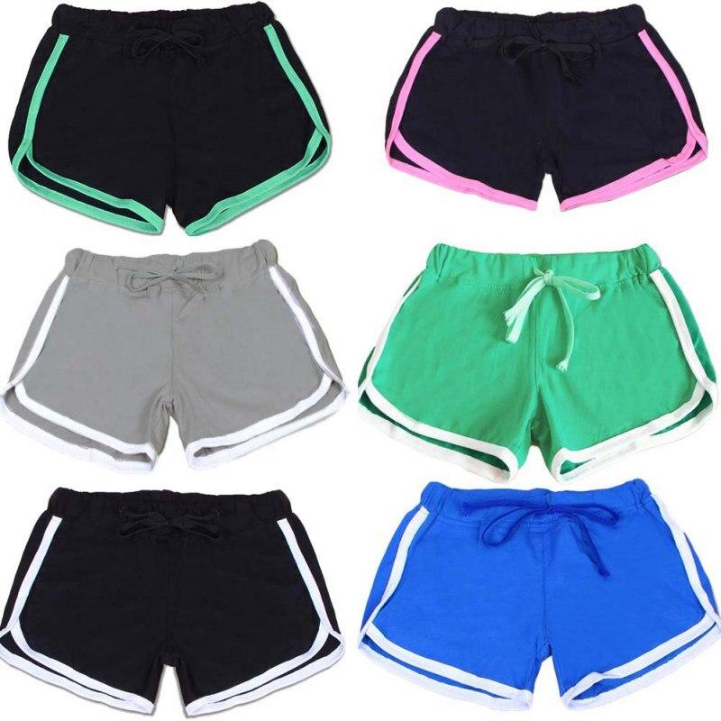 Summer Fast Drying Drawstring Women Sport Running Shorts Anti Emptied Cotton Contrast Elastic Waist Correndo Shorts GYM Yoga