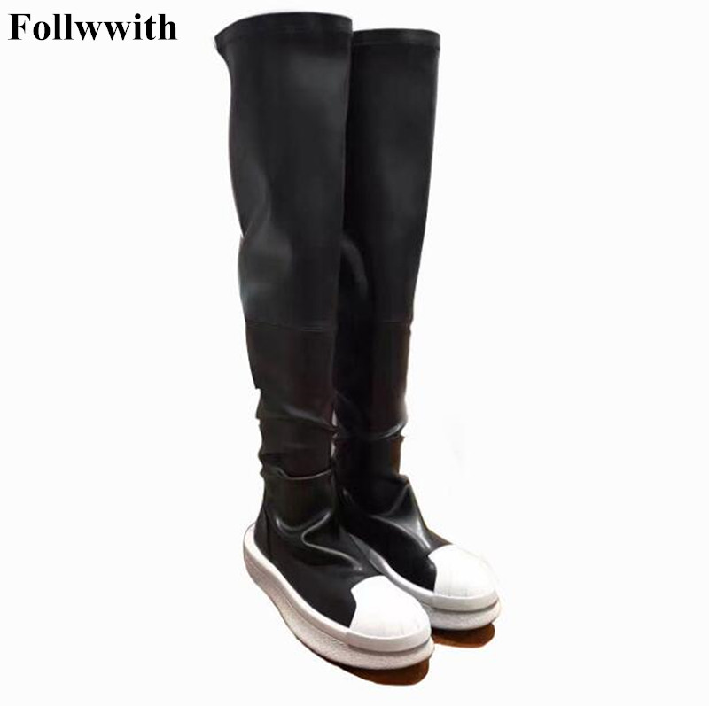 2018 Black Elastic Long Boots over-the-knee Boots Platform Flats Heel Booties With Fur Fashion Autumn Winter Female Shoes Thigh avvvxbw 2016 new brand long boots fashion elastic over the knee boots shoes woman square heel genuine leather thigh high boots