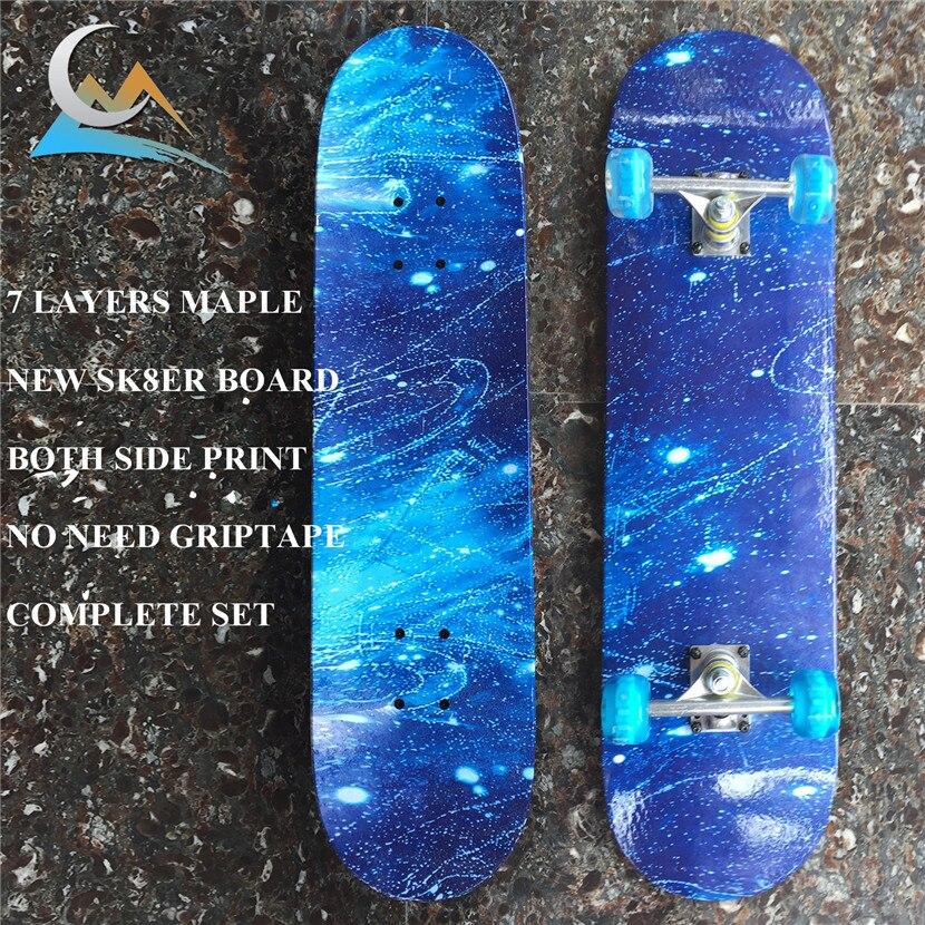 Разумный звездное небо скейтборд с узором палуба с колесами грузовики и подшипники для скейта доска полный комплект для новых Sk8ters