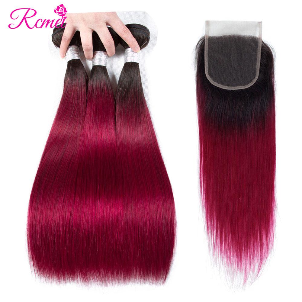 Rcmei オンブル 1B/ブルゴーニュブラジルストレートヘアの束で赤色ダーク根 2 トーン人毛織り 4 ピース取引  グループ上の ヘアエクステンション & ウィッグ からの 3/4 バンドル留め具付き の中 1