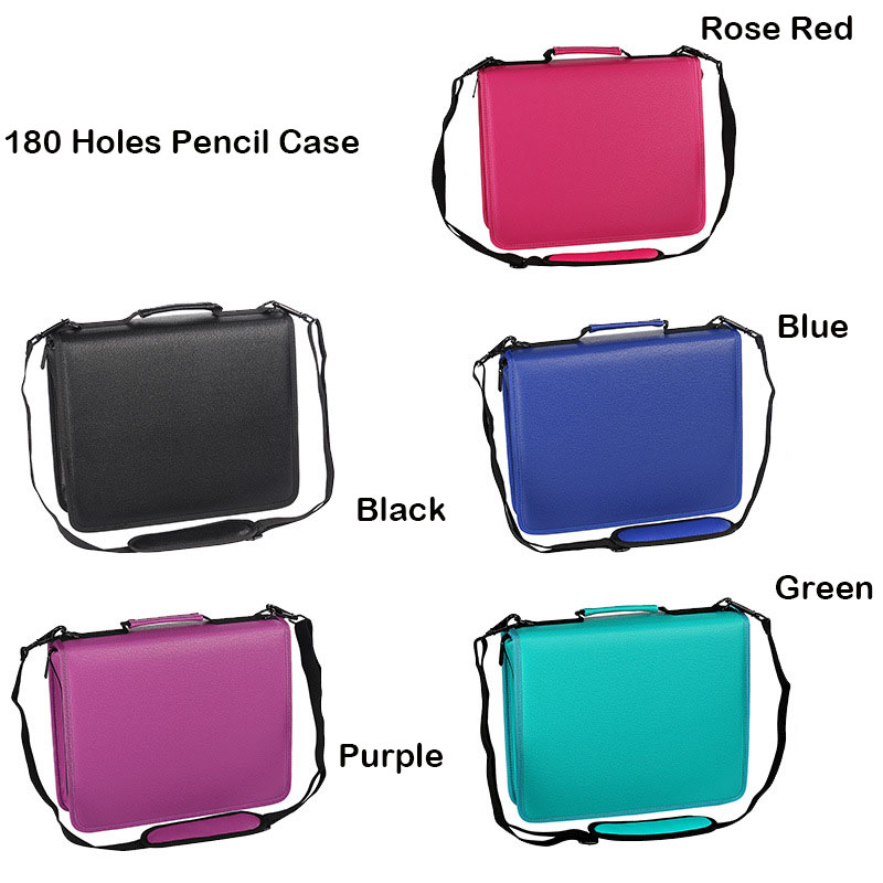 Image 2 - Kawaii PU Leather School Pencil Case 180 Holes Large Penal Pencilcase for Colorful Pencils Spiral Removable Pen Box Bag Pouch-in Pencil Cases from Office & School Supplies