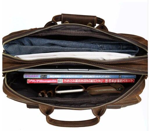 Herrenmode Designer handtaschen Hoher Qualität Leder Braun Leder Aktentasche Portfolio Männer 15,6 laptop Büro Messenger Taschen - 5