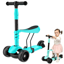Detachable Three Wheels Children Scooter 3 In 1 Can Ride Tricycle Babys with Flash Kids on Toy Balance Car