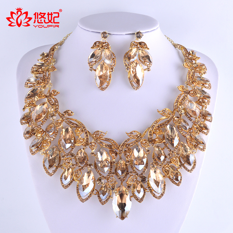 gorgeous Champagne color jewelry sets for bridal wedding party necklace and earrings set dubai fashion big jewelry earrings