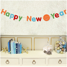 3m colorful happy new year paper flag garland with smiley face banner diy christmas decoration festive
