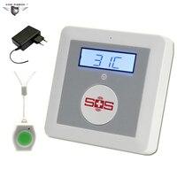 Беспроводной GSM сигнализация Системы охранных престарелыми Системы Поддержка дым газовый датчик влажности с sos помощь и пуговицы K4