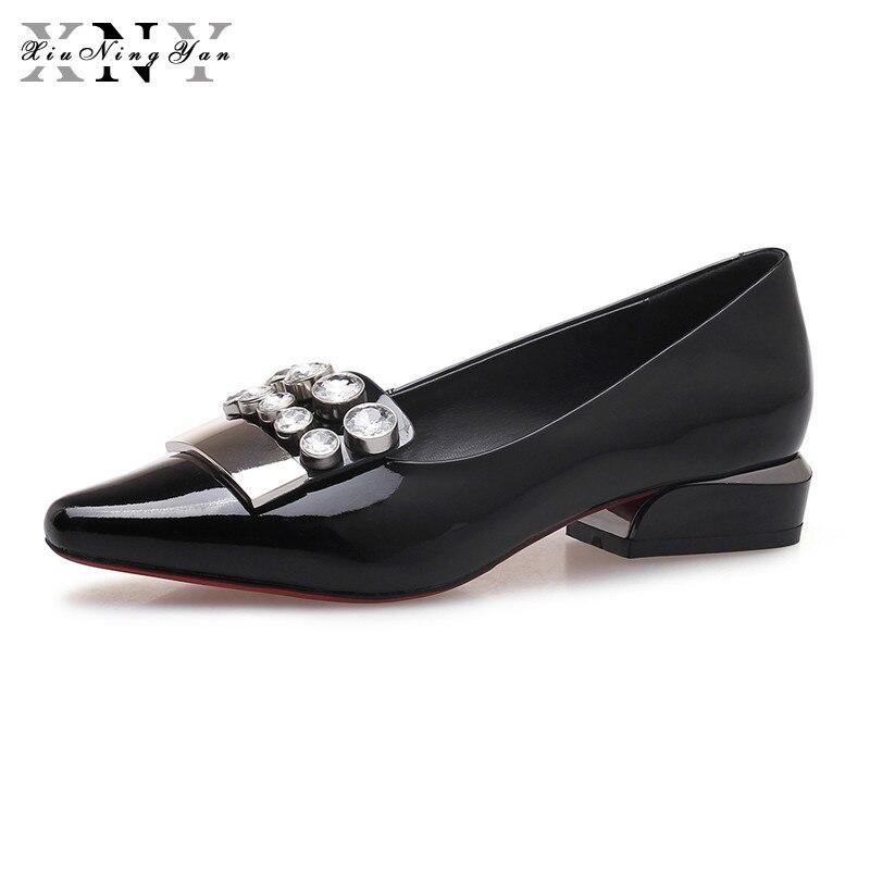 Pointu Bout Appartements Xiuningyan Automne Mode Femme Noir 2018 Cuir  Cristal Véritable Casual Plat vin En Rouge Chaussures Confortable Femmes  Printemps ... 0174e3f97025