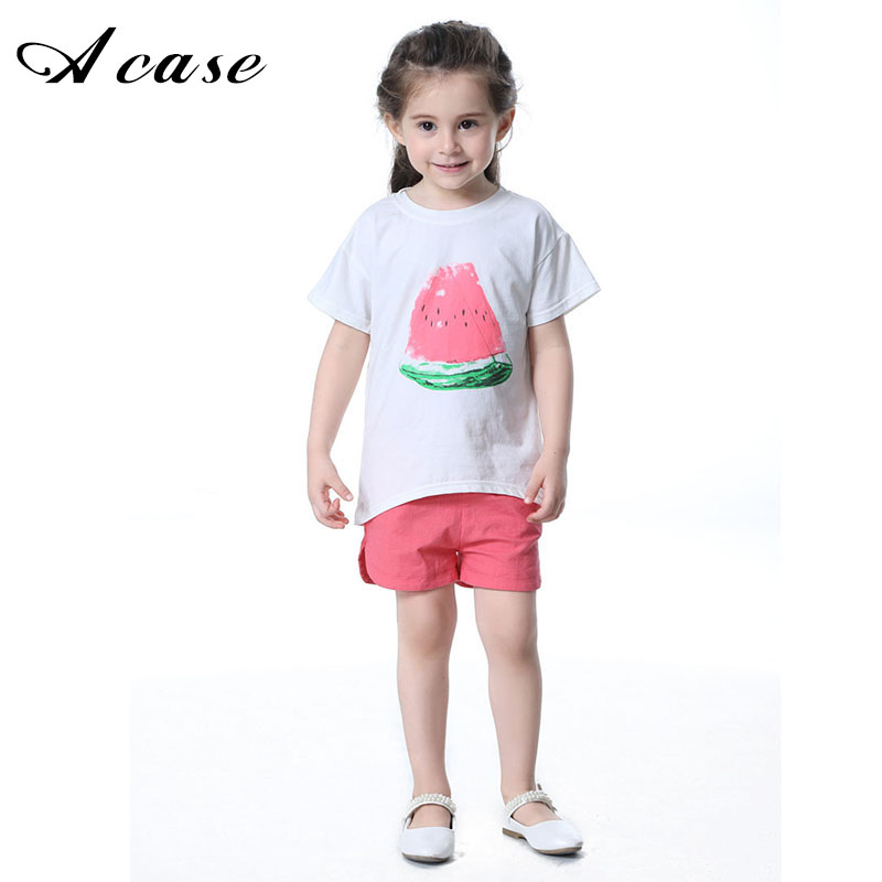 Children Girls Clothes Sets 2018 New Summer Kids 2pcs Suit Watermelon Print Clothing Little Girl White T-shirt + Red Short Pants little j new fashion kids girl clothes set summer short sleeve love t shirt tops leather skirt 2pcs outfit children suit