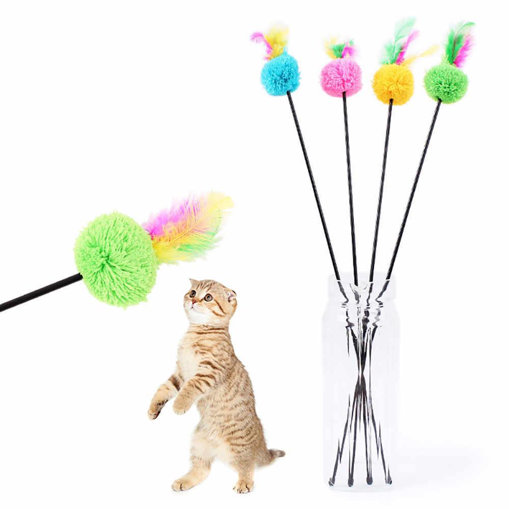 ペット子猫猫のおもちゃティーザーインタラクティブブラブラフェイクマウスロッド鐘のおもちゃカラフルな羽杖ティーザーため猫用品 # YL