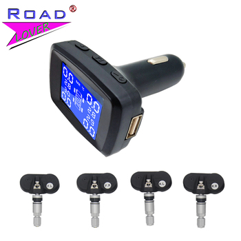 Car TPMS Tire Pressure Monitoring System Digital LCD Display Auto 4 Internal / External Car Cigarette Lighter TPMS For Most Cars