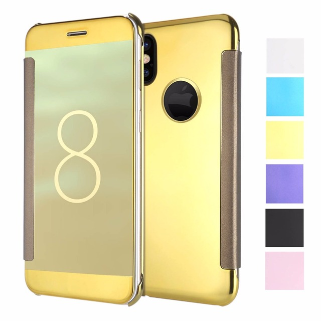 huge discount 3ba2c 3bb80 US $5.99 |Case For Apple iphone X Cases Luxury Mirror Smart Clear View  Leather Flip Coque Cover For iphone 6 6S 7 8 Plus X Cover Funda-in Fitted  Cases ...
