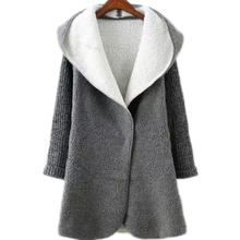 European Fashion Winter Wool Blends Gray Color Hooded Knit Sleeve Pockets Sweater Casual Cardigan Large Shape Coat Lapels YXL23