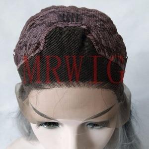 Image 5 - Mrwig parte do meio peruca dianteira sintética do laço glueless 1b #2 # longo corpo ondulado fibra resistente ao calor para a senhora mulher