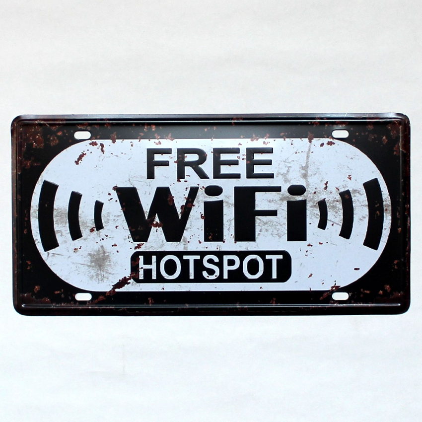 [ Kelly66 ] FREE WIFI HOTSPOT Metal Plaque Bar House Wall Signs Painting Craft 15*30 CM Size P-76