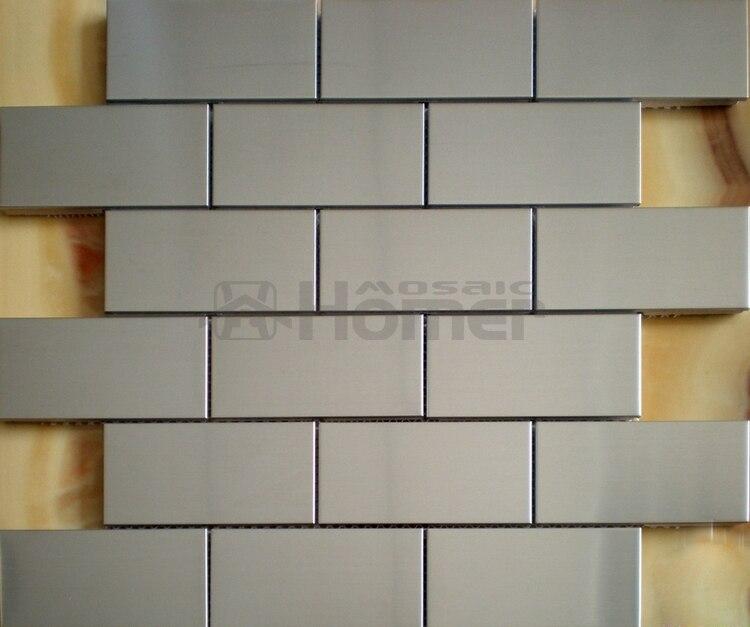 ᐃEnvío libre, 46x98mm acero inoxidable metal mosaico azulejo, plata ...