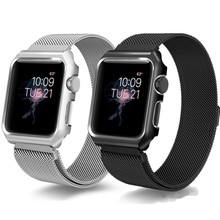 купить Case+Strap For Apple Watch band 44 mm 40mm iWatch band 42mm 38mm Stainless Steel bracelet Milanese Loop Apple watch 4 3 2 1 дешево