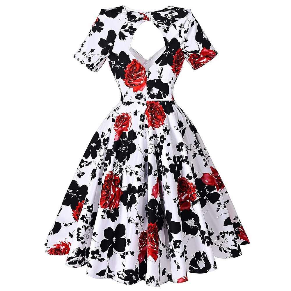 31c483e1a5 Summer Dresses Women Big Size Floral Print Vintage Dress 50s 60s Audrey  Hepburn Vestido Casual Cotton Tunic Women Dress Sarafan