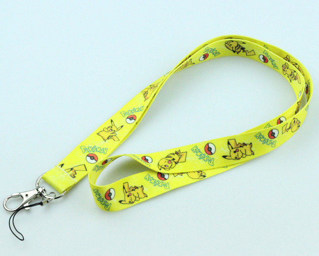 1Pcs Yellow Poke mon Pika chu Lanyard For ID Badge Cell Phone Key chain Great Gift X64