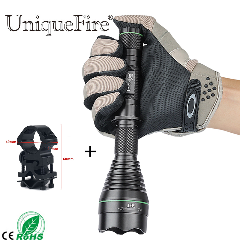 UniqueFire1508-50-850 Attack Head Focus Len Zoom LED Flashlight(Infrared Light Invisible To Human Eyes)+Scope Mount 1/3 Modes