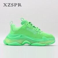 XZSPR Одежда высшего качества тройной S кроссовки Для женщин натуральная кожа Повседневное на платформе ботинки с массивным каблуком Сникеры