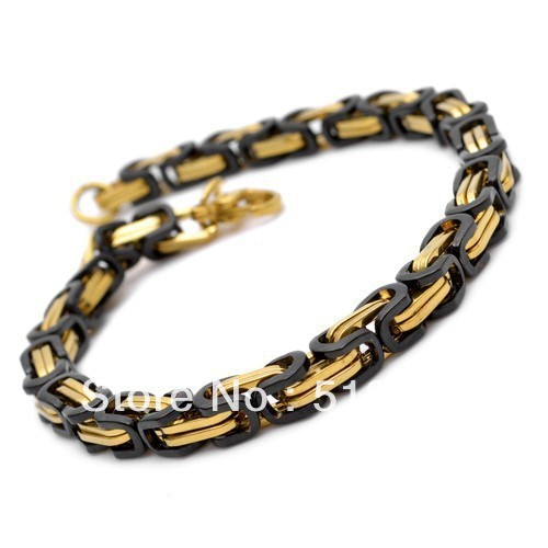 Top Ing Stainless Steel Bracelet Charm Byzantine Link Bangle For Men S Jewelry 9mm Black Gold In Chain Bracelets From Accessories On