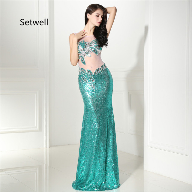 e48134207850 Setwell Unique Sequin Prom Dresses 2017 Illusion Neckline Backless Sexy Prom  Dress Charming Mermaid Evening Gowns