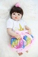 55cm Full Body Silicone Reborn Baby Doll Toy 22 inch Vinyl Newborn Princess Babies With Unicorn Clothes Girl Bonecas Bathe Toy