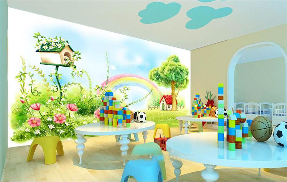 Custom 3d Photo Wallpaper Kids Room Mural Rainbow Cartoon
