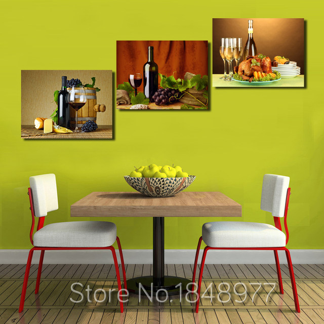Online Shop 3 Pieces Modern Modular Wall Oil Painting Abstract Wine ...