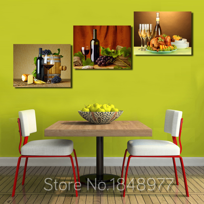 3 Pieces Modern Modular Wall Oil Painting Abstract Wine Fruit Kitchen Wall Art Picture Paint On Canvas Prints (No Frame)
