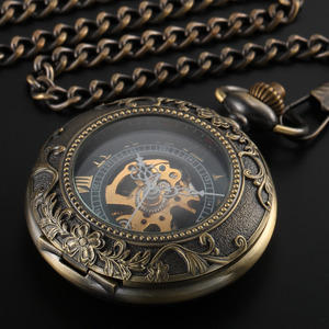 Image 2 - Steampunk Pocket Watch Mechanical Pocket Watches Flip Clock Necklace Retro Skeleton Vintage Pocket Fob Watch Chain Dropshipping